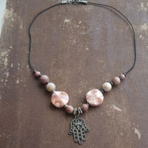 Pink, Cream & Rusty Brown Hamsa Stone Necklace